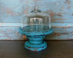 Pedestal Cloche Turquoise Distressed Wood by turquoiserollerset, $24.00