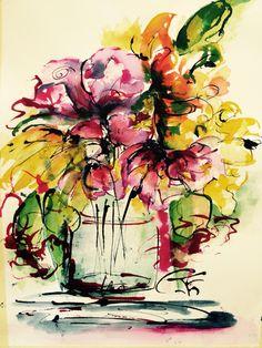 Blooming Aquarel en inkt 30/40