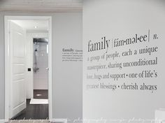 We are family :) pikamoi - Vaaleanpunainen hirsitalo We Are Family, Home And Family, Wayfinding Signage, Beautiful Dream, Letter Wall, Wall Tiles, House Styles, Words, Interior