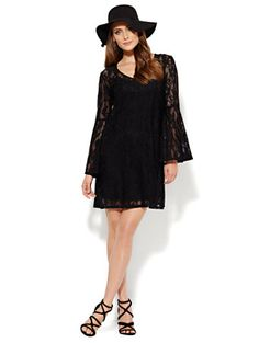 Shop Bell-Sleeve Dress - Black Lace. Find your perfect size online at the best price at New York & Company.