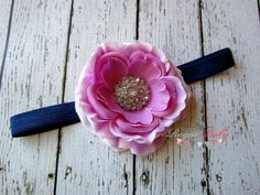 Pale Purple Ranunculus with Navy Headband  Baby  by TheRogueBaby, $6.95