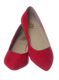 New Suede Shoes Flats in Cherry | PLASTICLAND