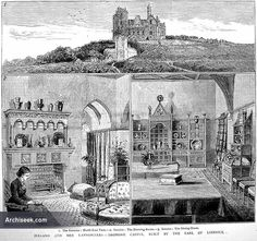 1874 – Dromore Castle. Designed in the Gothic revival style by E. W. Godwin and built for the Earl of Limerick. Never a success as a house, it was abandoned by the Pery family during World War 1. Godwin gave as much attention to the interior of as to the exterior. The walls of the principal apartments were decorated by M. Marks, A.R.A. with figures in outline, filled in with plain, unshaded colours. Over the mantelpiece, a peacock. Godwin designed all the furniture and fittings.