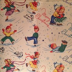 VINTAGE CHRISTMAS WRAPPING PAPER GIFT WRAP MID CENTURY WW2 CHILDREN DOG SKATING