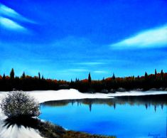 Quadro Pintura by Jorge Marcovich Lago e Neve - Lake and Snow Oil Painting