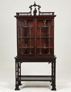 CHINESE CHIPPENDALE STYLE ENGLISH CABINET ON STAND