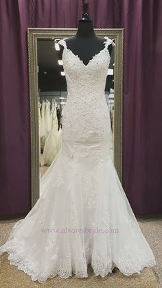 Low Back White Lace Mermaid Wedding Gown - Always a Bride Wedding Consignment, Grafton, WI