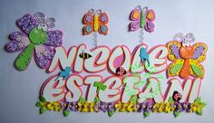 Libélula y mariposa loca...=) Butterfly Crafts, Baby Shower, Snoopy, Names, Butterflies, Ideas, Stall Signs, Jelly Beans, Manualidades