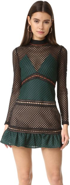 Self Portrait Forest Mini Dress. Green and black mini dress with lace detail and ruffles.