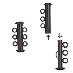 Clasp, 3-strand slide lock, electro-coated brass, black, 21.5x6mm tube. Sold per pkg of 2.