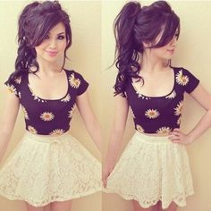 Super Cute Floral Crop Top And Skater Skirt, Pretty Adorable And Affordable!!!<3