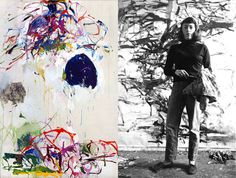 """Joan Mitchell in her studio, 1957. The painting on the left is from """"Sunflower Series."""""""
