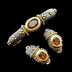 GORGEOUS TOPAZ GLASS STONES! This vintage hinged bangle bracelet with matching clip earrings has a very unique beaded design with silver plating and gold plated accents. The glass stone are go beautiful! $149. See More Glamorous Vintage Jewelry Sets in My Shop: https://www.etsy.com/shop/MyClassicJewelry?section_id=13109955