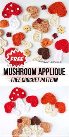 crochet Mushroom Applique free pattern - easy crochet amigurumi pattern for beginners Crochet Diy, Crochet Patterns Amigurumi, Crochet Motif, Crochet Designs, Crochet Crafts, Crochet Flowers, Crochet Stitches, Crochet Projects, Crochet Bear