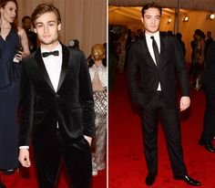 Douglas Booth in Burberry and Ed Westwick in Prada