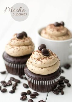 Mocha Cupcakes with Espresso Frosting - Perfect combination of chocolate and coffee! Recipe @ http://juliescafebakery.com #cupcakes #mocha #recipes #cooking #baking