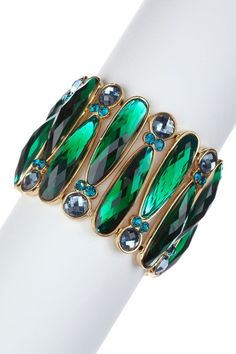 Emerald Green, Blue and gold bracelet i am absolutely in love with this!