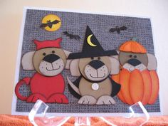 Three Trick or Treat puppies by graffiti - Cards and Paper Crafts at Splitcoaststampers
