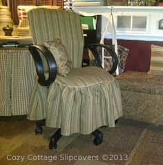 This is me!   Cozy Cottage Slipcovers: New Office Chair Slipcovers