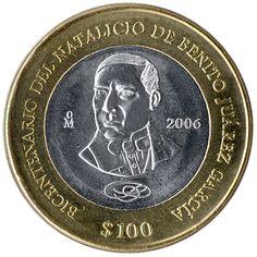 Moneda bimetálica conmemorativa del 200 aniversario del natalicio de Don Benito Juárez
