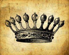 Vintage King Crown Clipart Lineart Illustration Instant Download PNG JPG Digi Line Art Image Drawing L974 by BackLaneArtist on Etsy
