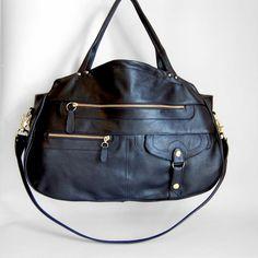 XL travel bag/carryon bag in black Cross body by valhallabrooklyn. $445.00 USD, via Etsy.