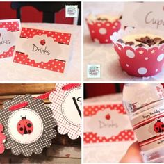 Everything you need to throw a darling ladybug birthday party is here.  There are free printables for food table cards, cupcake liners, a birthday garland and water bottle labels for some extra pizzazz around the room.