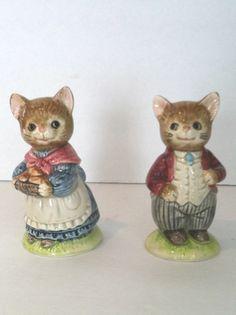 Vintage Otagiri Japan Ceramic Dressed Up Cat Kitten Salt & Pepper Shakers