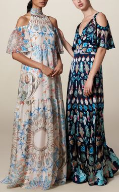 Quartz Printed Long Dress by Temperley London