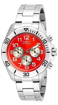 Invicta Herren-Armbanduhr Chronograph edelstahl Silber 17938 - http://uhr.haus/invicta/rot-invicta-herren-armbanduhr-chronograph-18007