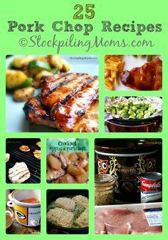 25 Pork Chop Recipes including grilled, baked and crockpot recipes! #porkchops
