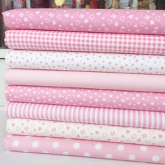 "Baby Girl Pink & White Fabrics Per Half Metre & 8 Fq Bundle 100% Cotton 44"" Wide"