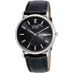 Men's timepiece boasts a leather strapCitizen Eco-Drive wristwatch never needs a batteryWith a classic design, this men's watch is ideal for casual or dressy wear