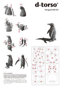 PENGUIN 104_white | ディートルソ ペーパークラフト by アキ工作社 | 動物のカタチ///動物シリーズ///ペンギン段