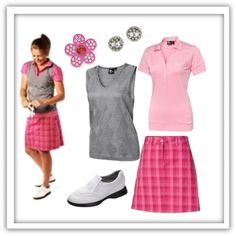 Great pink golf outfit - love the plaid skort!