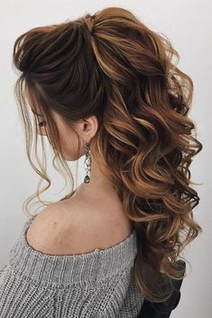 Wedding Hairstyles For Long Hair 36 Trendy Swept-Back Wedding Hairstyles ❤️ swept back wedding hairstyles long curls down half up and loose curls oksana_sergeeva_stilist ❤️ Wedding Hairstyles For Long Hair, Wedding Hair And Makeup, Formal Hairstyles, Bride Hairstyles, Bridal Hair, Hairstyle Wedding, Loose Curls Hairstyles, High Ponytail Hairstyles, Pulled Back Hairstyles