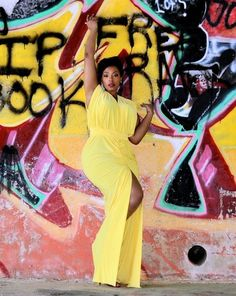 yellow maxi / Curvy is the new black.