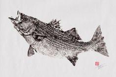 STRIPED BASS reproduction GYOTAKU  by FishingForGyotaku on Etsy, $35.00