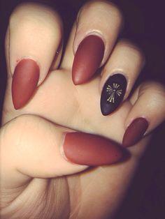 Matte burgundy and black stiletto nails