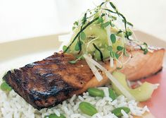 Miso-Marinated Salmon with Cucumber-Daikon Relish - Bon Appétit