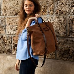 Nobu shopping bag WAXY - Camel - Canvas and leather for a mere $240