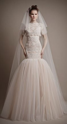 Ersa Atelier 2015 Bridal Collection - Belle the Magazine . The Wedding Blog For The Sophisticated Bride   Lace Wedding Dress wedding dresses bridal gown bridal gowns mermaid cut vintage lace sleeves lace back buttons modest