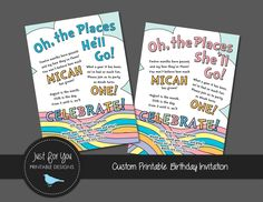 Inspired by the Oh the Places book, this 1st First Birthday Invitation can be customized for a boy, girl, or twins! Wording can be changed to accommodate a 2nd birthday too! Oh, the Places Hell Go! (in blue) Oh, the Places Shell Go! (in pink) Oh, the Places Theyll Go! (in pink or