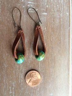 Boho Leather earrings - Distressed leather drop earrings - fashion jewelry - boho earrings- rustic j Diy Leather Earrings, Beaded Tassel Earrings, Leather Jewelry, Earrings Handmade, Handmade Jewelry, Drop Earrings, Boho Earrings, Rustic Jewelry, Cute Jewelry