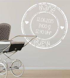 Stempel, Kinderzimmer, Baby, Geburt, Wandtattoo, Wandsticker, Wandaufkleber, individuell, personalisiert