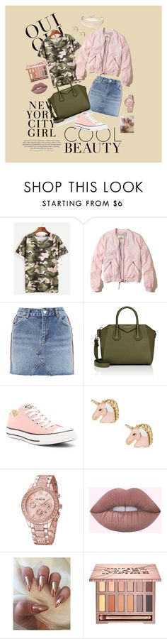 """Rose Gold is My New Fav Color🐷"" by la-stevy ❤ liked on Polyvore featuring Oui, Hollister Co., Topshop, Givenchy, Converse, Urban Decay and River Island"