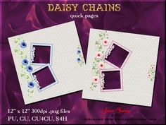 """Daisy Chains on Craftsuprint designed by June Young - Two pages featuring daisies, one blue and one pink with two toning padded frames embellished with flowers on each page. There is plenty of space for your own embellishments or journalling. The sheets are 12"""" x 12"""" at 300dpi and are .png files so your photo will just slip in. They can be reduced in size or can be used for card making as well as for scrapbooking.  - Now available for download!"""