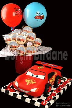 Lightning Mcqueen Cake & Cookies by burcinbirdane, via Flickr