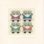 VW Campervan crosstitch card complete kit with needle threads aida frame Textile Heritage this card shows 4 vans in pink blue green orange