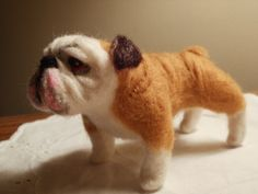 Artist Needle Felted Bulldog Sculpture Dog - Sweetie.